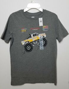 Old Navy boys graphic t-shirt Sz L 10/12 gray Monster truck