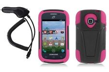 for Samsung Galaxy Centura-Black/Pink VGUARD Armor Case Phone Cover+Car Charger
