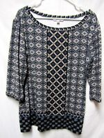 SOPHIE MAX top shirt blouse  XL 14/16 Bust 44 Navy multi colors Beautiful PRINT