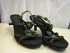 Nine West New Womens Flory Black Leather Heels 7 M Shoes
