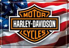 Harley Davidson Stars & Stripes metal postcard / mini sign  140mm x 110mm (na)
