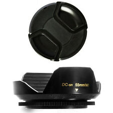 55mm Wide Flower Lens Hood and Lens Cap for Sony Alpha SLT A37 A57 A77 A65 A55