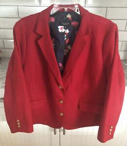TALBOTS Aberdeen 3 Button Blazer Jacket Wool Blend Lined Red SZ 20WP Lovely🌹