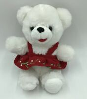 "Dan Dee 2017 CHRISTMAS Snowflake Plush Teddy Bear White Red Floral Dress 20"""