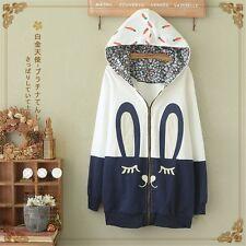 Kawaii Sweet Lolita Japanese Mori Girl Cute Bunny Patch Embroidery Hoodie Tops