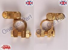 2 x 12V Car Battery Terminals Clamps Connectors Heavy Duty Brass Bolts + / -