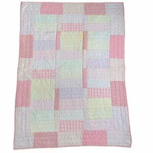 Vtg Pale Pastel Pink Patchwork Crib Quilt Pottery Barn Kids Toddler Bed 50 x 37
