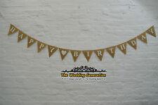 Personalizzato Buon Compleanno Party Burlap Hessian Bunting ANNIVERSARIO Banner