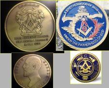 "Masonic Symbol Freemason Antique Bronze 2"" + Freemason Challenge Coin 1.6"""