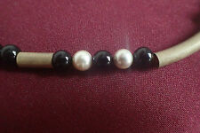 Onyx Kette mit  Perlen und Silber 925 vergoldet 53 cm