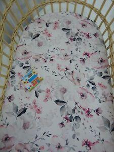 Bassinet Fitted Sheet White Poppy 100% Cotton FITS STANDARD BASSINET