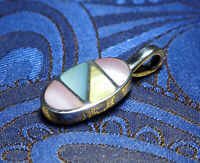 Nepalese Handmade Fine Colourful Shell Pendant 925 Sterling Silver