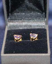 Tanzanite Trilliant Cut 18K Yellow Gold Earrings – Stunning