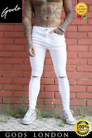 GODS White Knee Rip Spray On Jeans - GODS Sinners Attire Hera London