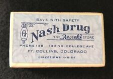 VINTAGE CARDBOARD NASH DRUG PHARMACY PRESCRIPTION DRUG PILL BOX FORT COLLINS, CO