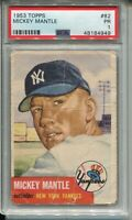1953 Topps Baseball #82 Mickey Mantle Card Graded PSA 1 New York Yankees '53