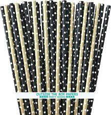 100 Black and Gold Polka Dot Paper Straws