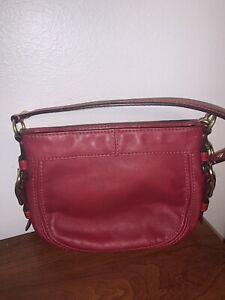 COACH Red Leather Buckle Small Purse with Gold Tone Hardware