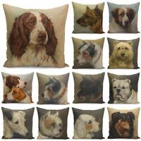 Dog Print Pillow Cover Pillow Case Waist Cushion Cover Sofa Home Decor 18inch
