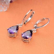 Women's Fashion 925 Silver Jewelry Vintage Amethyst Drop Dangle Earrings Elegant