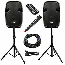 Active 15 Inch PA Speaker System - Bluetooth, Wireless Mic, Stands and Cables