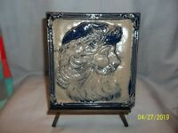 Rowe Pottery Works Santa Picture & Wrought Iron Stand