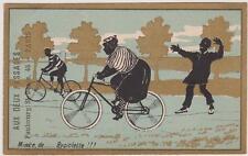 CHROMO ANCIEN HUMORISTIQUE PUBLICITE/MAGASIN AUX DEUX PASSAGES/DAME S/BICYCLETTE