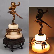1920s Antique Art Deco JB Hirsch Gerdago Harlequin Jester Pixie Alabaster Lamp