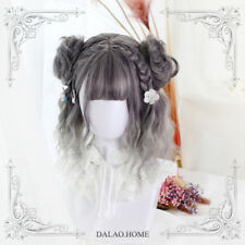 Harajuku Casual Gray+White Gradient Vintage Kawaii Gothic Curly Daily Hair Wig