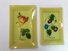 New ListingPair of Rectangle Decorative Fused Glass Plates 2 Vintage Floral Platters Trays