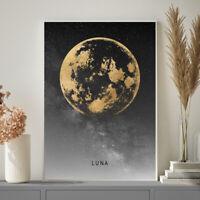 "THE MOON ""LUNA"" Photo Gold Grey Starry Bedroom Wall Art Print Poster A4 A3 A2 A1"