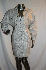 Vintage MICHAEL HOBAN North Beach White & Beige Leather Dress & Cropped Jacket S