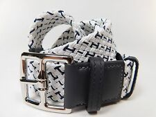 Hermes Woven Belt White Blue Leather Size 100 95 90 85 80 Silver Buckle H VE229