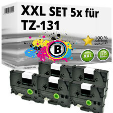 5x Farbband kompatibel Brother P-Touch PT 1010 1230 H100R H300 D200 H105 TZ-131