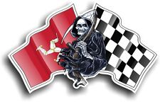 Death The GRIM REAPER & Isle Of Man Manx Racing Flag vinyl car helmet sticker