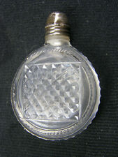 Antique Miniature Cut Glass Perfume Bottle w/ Stopper & Sterling Cap