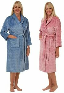 Ladies Women's Marlon Soft Feel Heart Embossed Night Gown Rob Wrap UK sizes S-L