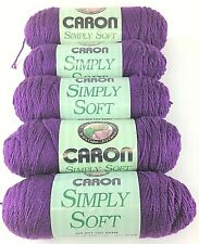 Caron Simply Soft Yarn - Lot of 5 Skeins VIOLET 100% Acrylic