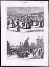 1878 - Antique Print DEVON Plymouth Drakes Island Sound Barbican Market  (145)