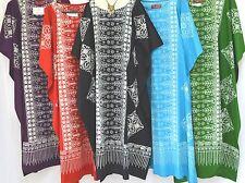 MALAYA 100% Cotton Kaftan Dress Long One Size Plus VINTAGE Hawaiian Muumuu Mod