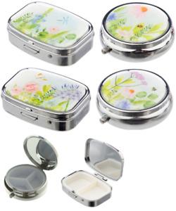 Novelty Botanical Gardens 2,3 Day Pill Box - Tablet Storage Tin Medicine Case