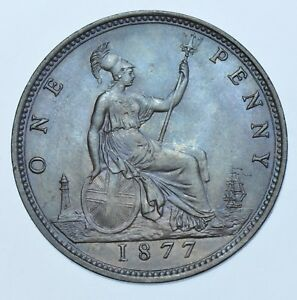 1877 PENNY BRITISH COIN FROM VICTORIA UNC