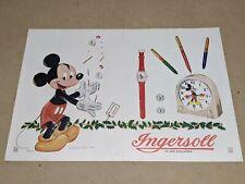Vtg 1948 Walt Disney Mickey Mouse Ingersoll Watch Clock 2pg Oversized Ad 10x14�