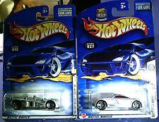 2 Hot Wheels 2000 Cadillac LMP prototype racer & Cadillac Cien sports car mint