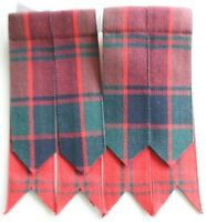 Men's Kilt Flashes Hose Robertson Red Tartan Elastic and Velcro to fit all sizes