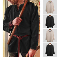 Medieval Renaissance Tunic Tops Mens Cosplay Costume V-neck Long Sleeve Tops Tee