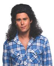 Black Perm Mullet Wig 1980's Redneck Hillbilly Rocker Costume Billy Ray