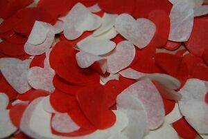 RED & WHITE Biodegradable Wedding Confetti - Hand made in the UK - Cones?   FUN