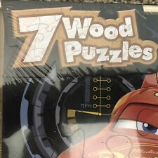 "7 Wood Puzzles in Wooden Storage Box Wooden Tray Fits Neatly With Lid ""Cars"""