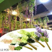 12x Artificial Fake Silk Flowers Wisteria Vine Leaf Ratta Hanging Garland  new
